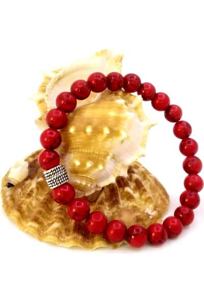 Pafuli El Yapımı Doğal Mercan Boncuk Bileklik Kırmızı