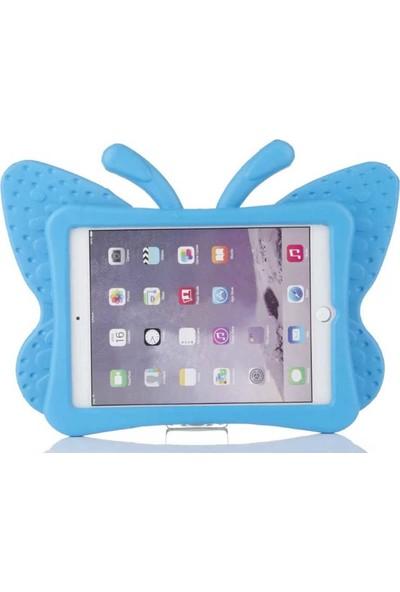 """Fibaks Apple iPad Air 2 (2014) 9.7"""" Kılıf Kelebek Yumuşak Dokulu Standlı Silikon Kids Açık Pembe"""