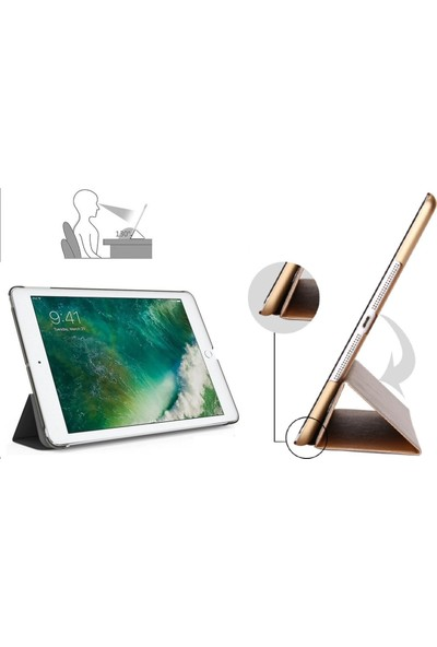 """Fibaks Apple iPad Air 3. Nesil (2019) 10.5"""" Kılıf Smart Cover Katlanabilir Standlı Akıllı Kapak Mor"""