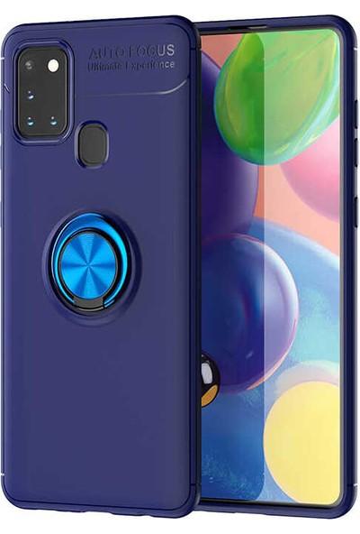 Fujimax Samsung Galaxy M31 Yüzüklü Ravel Antişok Özellikli Kılıf - Mavi