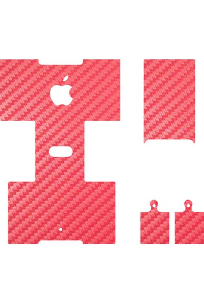 IPG Apple AirPods Seri 1-2 Uyumlu Tasarım Sticker Kılıf Seti (Kırmızı Karbon Fiber)