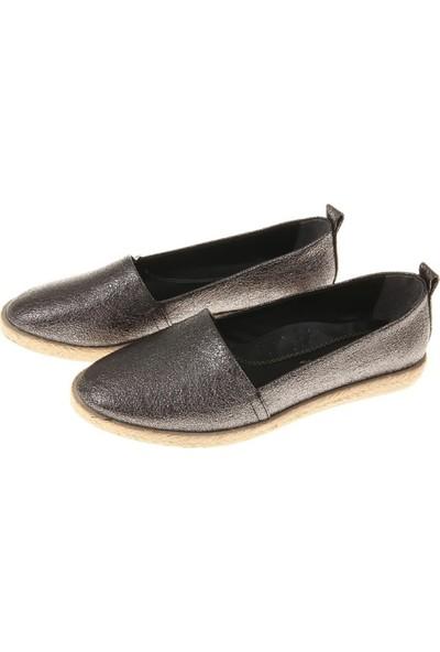 Espadril Kadın Ayakkabı Metalik Renk