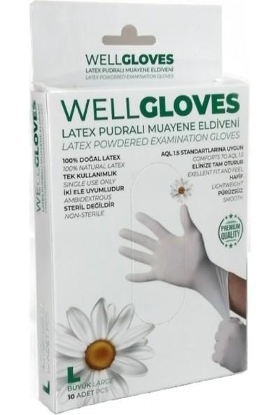 WellGloves Lateks Pudralı Eldiven Beyaz 10'lu