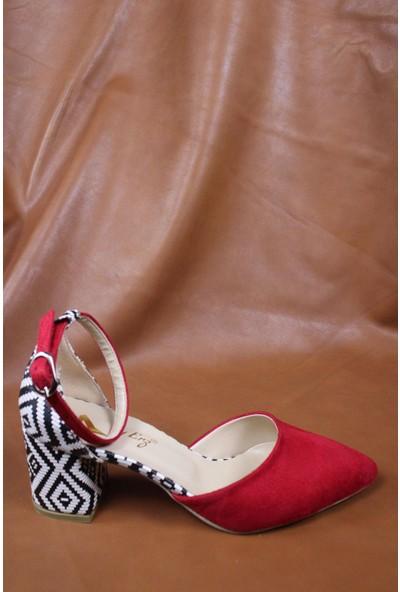 By Erz Kadın Desenli Topuklu Ayakkabı