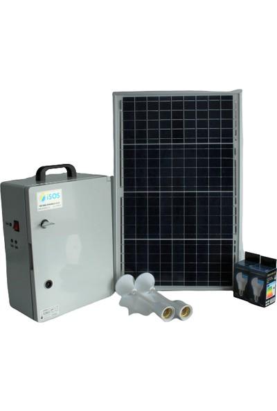 İsos Güneş Paneli 40 W + Taşınabilir Güneş Enerjili Mini Tv + Aydınlatma Sistemi 240 W