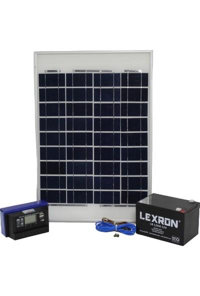 İsos Güneş Paneli 20 W + Solar Aydınlatma + Telefon Şarj Sistemi