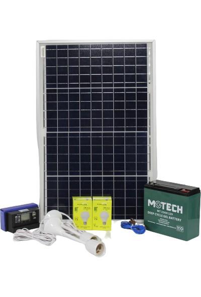 İsos Güneş Paneli 40 W + Solar Aydınlatma 240 W 12 V + Şarj Paketi 22 A Akülü + 3 Lambalı