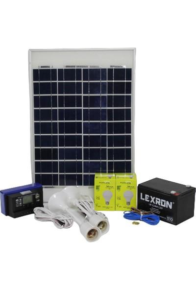 İsos Güneş Paneli 20 W + 2 Lambalı Solar Aydınlatma + Telefon Şarj Sistemi