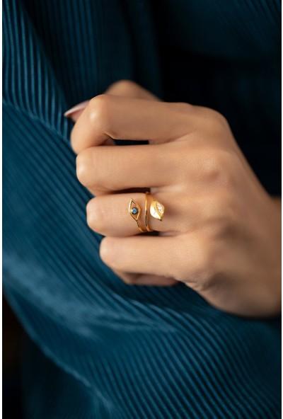 Ninova Silver Çift Göz Model Altın Kaplama Gümüş Italyan Yüzük