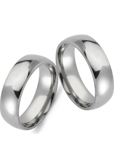 Takı Dükkanı 6 mm Bombeli Beyaz Çelik Alyans Çifti Söz Nişan Yüzüğü