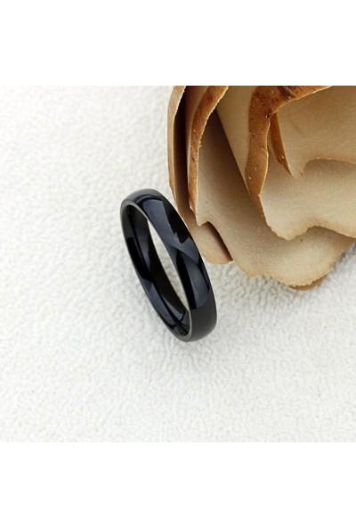 Takı Dükkanı Siyah 4 mm İnce Bombeli Çelik Alyans Çifti Söz Yüzükleri
