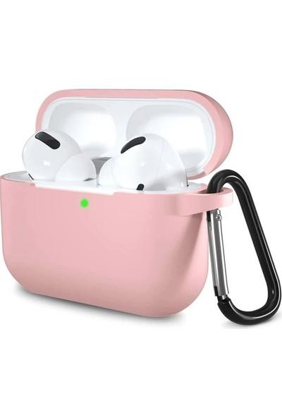 Rosstech Apple AirPods Pro Silikon Kılıf Kum Pembesi + Taşıma Demiri