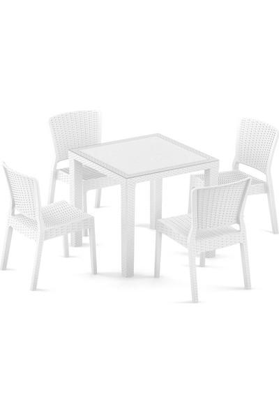 Bintaş Mobilya Beyaz Rattan Plastik Kare Dış Mekan Bahçe Masa Sandalye Takımı