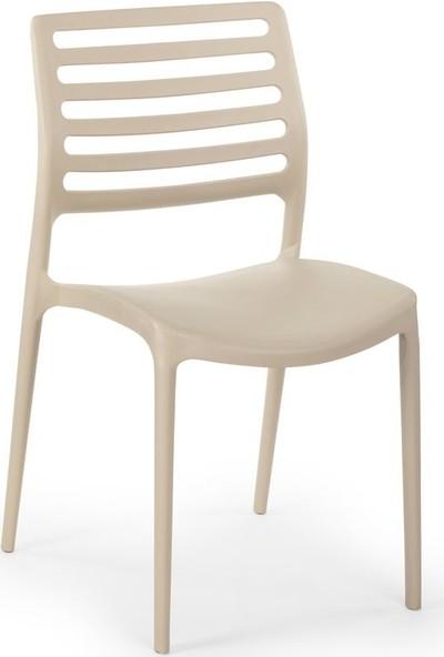 Bintaş Mobilya Bej Yuvarlak Dış Mekab Masa Sandalye Seti