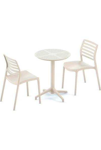 Bintaş Mobilya Krem Dış Mekan Bahçe Masa Sandalye Takımı