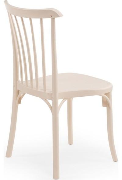 Bintaş Mobilya Krem Yuvarlak Cafe Dış Mekan Bahçe Masa Sandalye Takımı