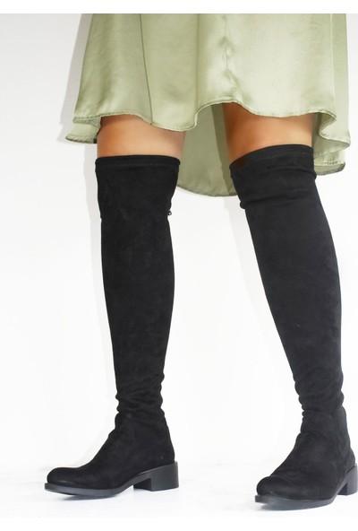 By Erz Siyah Kadın Streç Çizme