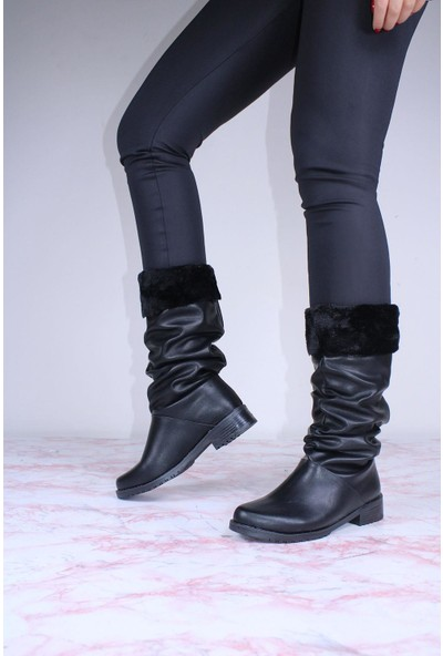 By Erz Kadın Kürklü Körüklü Uzun Çizme