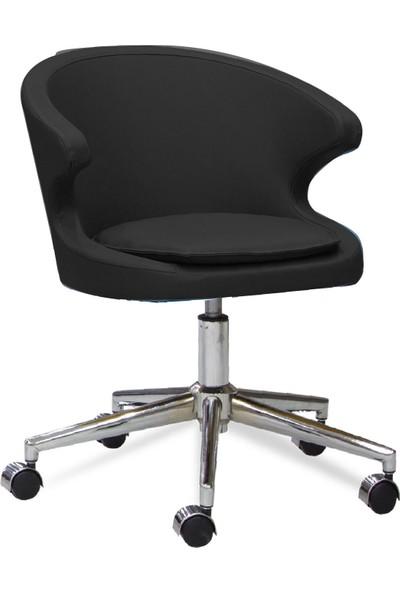 Sandino Koket - Siyah, Suni Deri, Metal Ayaklı Çalışma Sandalyesi