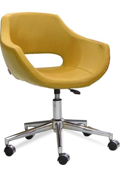 Sandino Viva - Hardal, Suni Deri, Metal Ayaklı Ofis Çalışma Sandalyesi