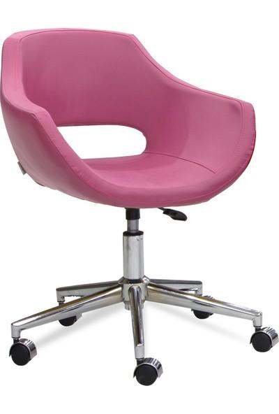 Sandino Viva - Pembe, Suni Deri, Metal Ayaklı Ofis Çalışma Sandalyesi