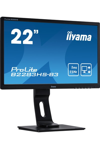 "iiyama B2283HS-B3 22"" 75Hz Full HD VGA+HDMI+DP Pivot LED Monitör"