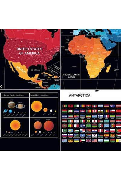 Ps Scratch Map Space Kazınabilir Güneş Sistemli Bayraklı Eyaletli Xl Harita Yeni Versiyon
