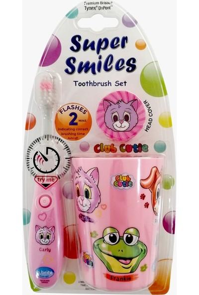 Bbrite Çocuk Diş Fırçası Seti Pembe - Işıklı Diş Fırçası + Fırça Başlığı + Bardak