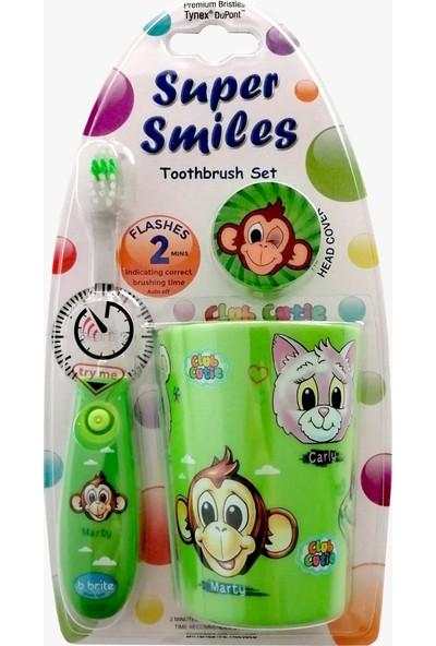 Bbrite Çocuk Diş Fırçası Seti Yeşil - Işıklı Diş Fırçası + Fırça Başlığı + Bardak