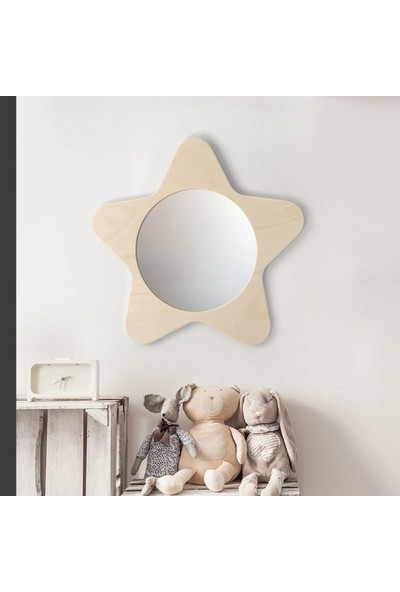 Minik Ayı Yıldız Ayna Doğal Ahşap