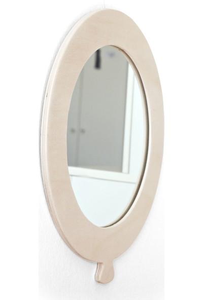 Minik Ayı Balon Ayna Doğal Ahşap