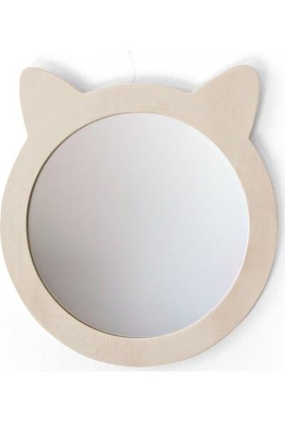 Minik Ayı Kedi Ayna Doğal Ahşap