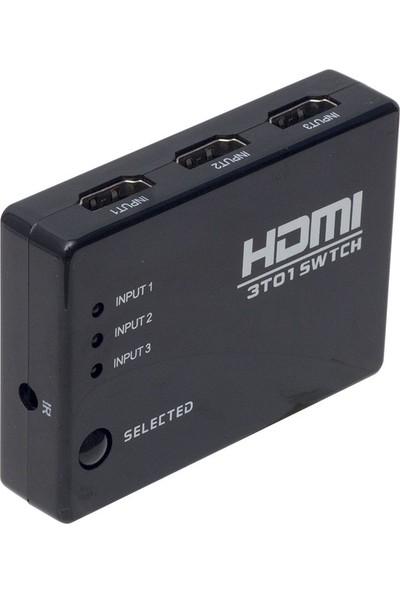 Powermaster PM-6853 3 Giriş 1 Çıkış HDMI Swıtcher Toplayıcı Kumandalı
