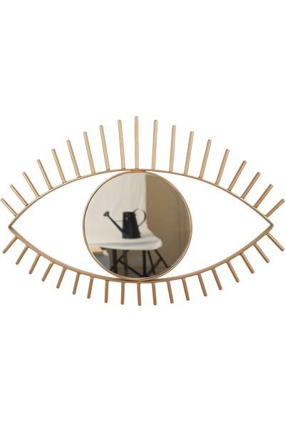Desen Dekorasyon Göz Ayna Metal Çerçeveli Büyük Altın