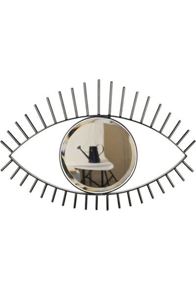 Desen Dekorasyon Göz Ayna Metal Çerçeveli Küçük Siyah
