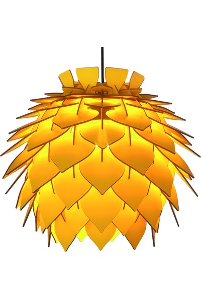 Design Otto Lotus Dekoratif Avize Sarkıt Sarı