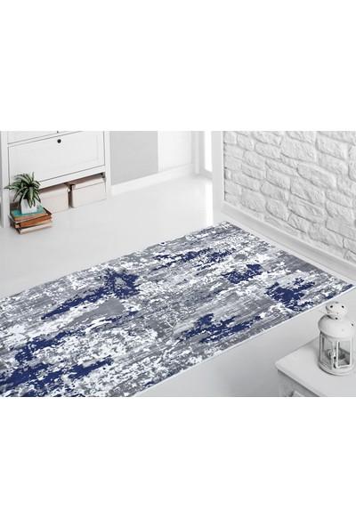 Sarar Halı AS013 Desen Mavi Renk Kesme Kaymaz Taban Halı Yolluk 80 x 50 cm