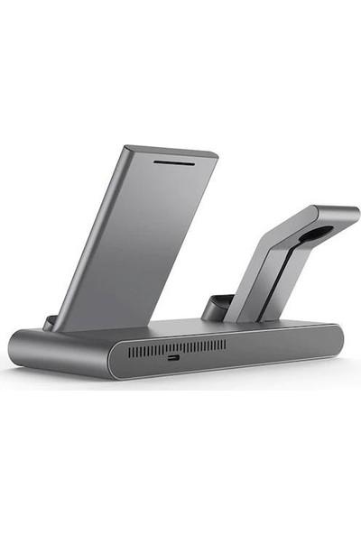 Wiwu Wirelles Kablosuz Masa Üstü Dock Telefon-Saat ve Kulaklık Şarj Cihazı