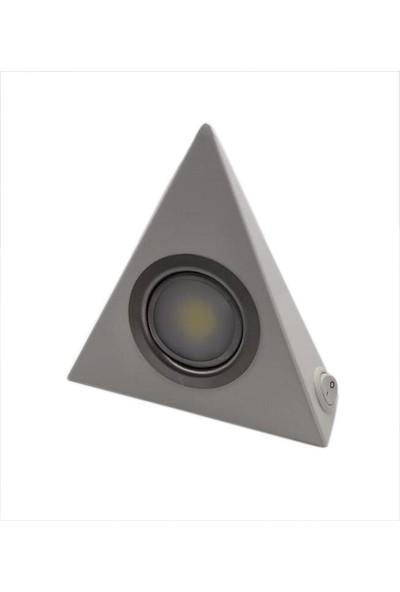 Yiğitled Mutfak Dolap Altı Üçgen LED Spot Beyaz Kasa Beyaz Işık 5 W
