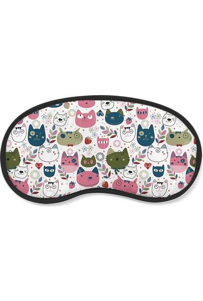 Wuw Kedi Desenli Uyku Göz Bandı