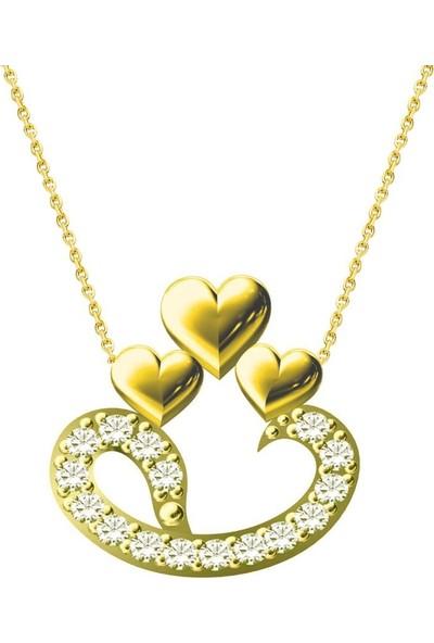 Melis Gold Altın Kalpli Vav Kolye
