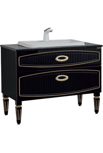 Lineart Dore 90 cm Banyo Dolabı Siyah Altın