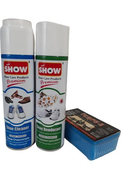 Show Ayakkabı Deodorantı ve Ayakkabı Temizleme Köpüğü 3'lü Set