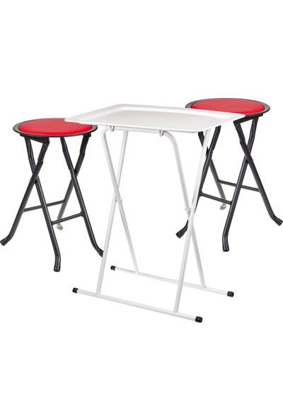 Katlanabilir Masa Takımı(Masa+2 Adet Tabure)