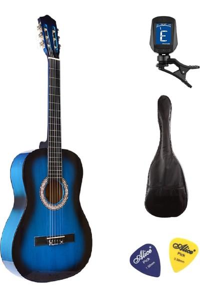 Müzikhane 4/4 Tamboy Klasik Gitar Seti (Gitar-Akort Cihazı-Kılıf-Pena) - Mavi
