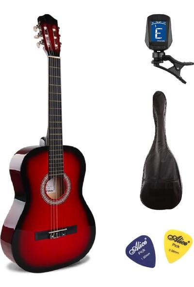 Müzikhane 4/4 Tamboy Klasik Gitar Seti (Gitar-Akort Cihazı-Kılıf-Pena) - Kırmızı
