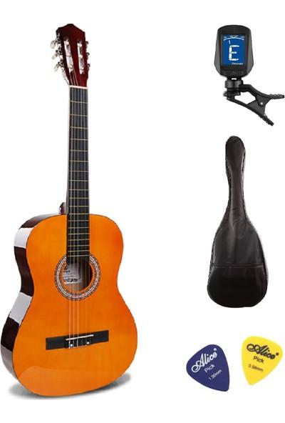 Müzikhane 4/4 Tamboy Klasik Gitar Seti (Gitar-Akort Cihazı-Kılıf-Pena) - Sarı