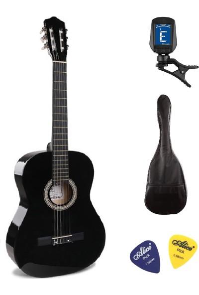 Müzikhane 4/4 Tamboy Klasik Gitar Seti (Gitar-Akort Cihazı-Kılıf-Pena) - Siyah