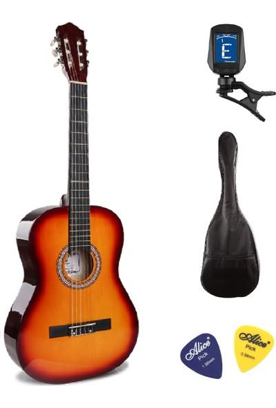 Müzikhane 4/4 Tamboy Klasik Gitar Seti (Gitar-Akort Cihazı-Kılıf-Pena) - Gün Batımı