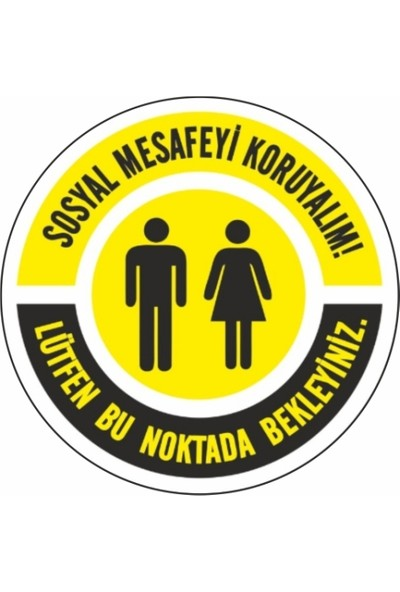 DMR Sosyal Mesafeyi Koruyunuz Zemin Uyarı Etiket ve Sticker 35 x 35 cm